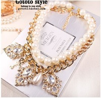 pearl diamand classic  tassels fringe drop vintage casual jewelry  acrylic alloy chain for lady necklace pendants free shipping