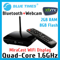 Android 4.2.2  RK3188 Quad Core 2GB RAM 8GB Flash Smart TV Box XBMC with Camera Webcam Mic Microphone Bluetooth Free Shipping