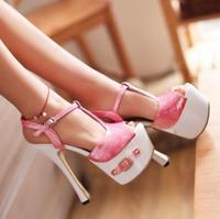 2014 New Arrival Women's Hot Sale Fashionable Belt Waterproof Shining T-strap Pattern High Heels Sandals Green/Pink/Yellow