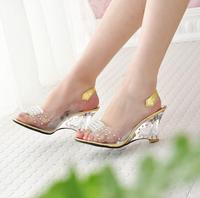 2014 New Arrival Women's Elegant Bohemia Fashion Pius Size Rhinestone Heart Wedge Pattern Transparent Hollow Sandals Gold/Silver