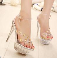2014 New Arrival Women's Noble Elegant Transparent Western Style Hot Sale Rhinestone Rivet High Heels Flatform Sandals Silver