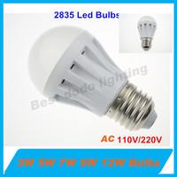 5pcs 3W 5W 7w 9W 12W LED Bulb 110/220V E27 led lamp cold white 5500-6500K/warm white 2700-3500K smd 2835 spotlight free shipping