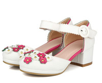 2014 New Arrival Women's Preppy Style Lovely Fresh Flower Lace Strap All Matching Buckle Pumps  White US size 4.5-7