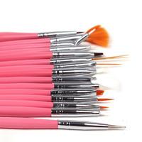 2014 brushes hot sale ! 15pcs pink and white cosmetic nail art tools polish pen brush set uv gel diy decorations free shipping