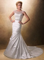 New Style ! Fit and flare Sleeveless Designer Wedding Gown ,Wedding Wear 2014 with Beaded Embellishments and Swarovski Crystals