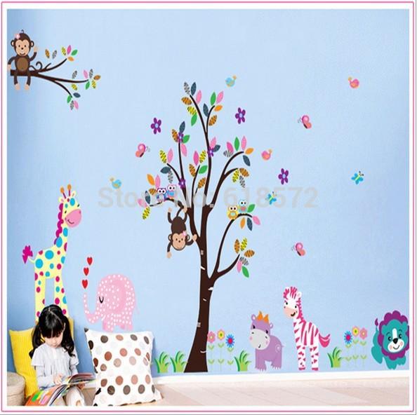 2014 new Diy Vintage pastoral style 1set 60*90 cm tree kawaii monkey zebra decorative glass window film wall stickers kids(China (Mainland))