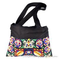 National Trend Ethnic Handmade Double Side Embroidery Embroidered Bags Women's Shoulder Messenger Bag Black Handbag