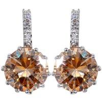 Fashion Multicolour Distinctive CZ Zircon Diamante Crystal Circle Stud Parties Drop Dangle Earrings Gift For Women  ^-_^
