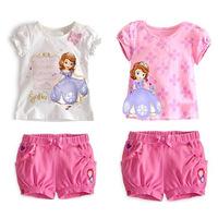 Free Shipping 2014 summer  Brand Baby Girls Clothing sets girl's Sofia princess Bow short-sleeve shirts+short girl clothing