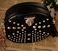 New 2014 women vintage bag leopard head women messenger bags rivet tassel fashion women handbag shoulder bag  free shipping