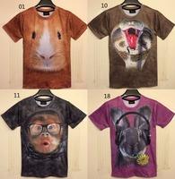 (Alice)2014 summer new arrive men/women Animal 3D t shirt short sleeve o neck casual t-shirt 28 models size M-XXL free shipping
