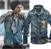 2014 new arrival brand men casual shirts fashion denim shirts short long sleeve men's jeans shirts for male big size wholesale