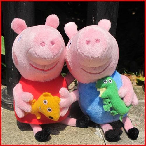 2pcs/lot Pepa/Pepe/Pepper/Pink Pig Stuffed plush toys George pig dolls anime Peppa pig Plush toys for kid toy(China (Mainland))