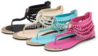 Free Shipping new Bohemia sandals Beaded flat women sandals