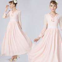2015 New ! Fashion Retro 1960s 1970s Vintage Elegant Long-sleeve Double Ruffle Collar Pink Colours Ladies' Dress 86018#