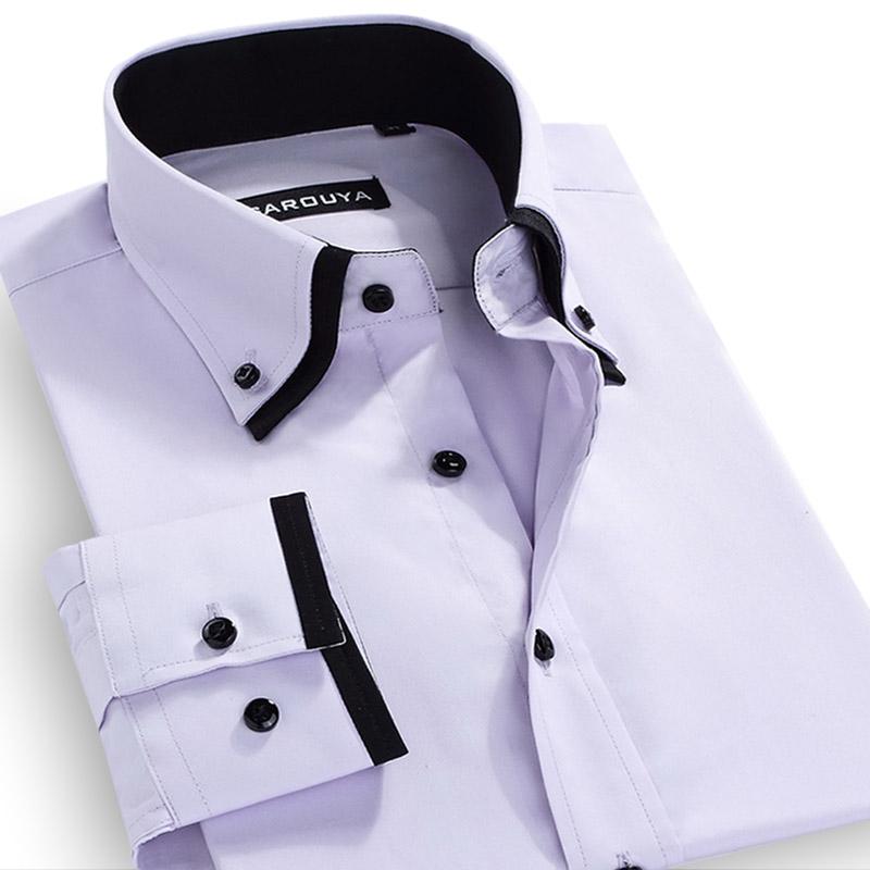 Camisetas de Marca para Homem Camisa Masculina Social Justa para Homem Camiseta de Manga Comprida Gola Dupla Frete Grátis S-5XL(China (Mainland))