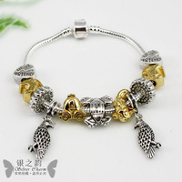 Free Fast Shipping European 925 Silver Vintage Bracelets & Bangles With Bird Charm for Women Murano Glass Beads Jewelry PA1121
