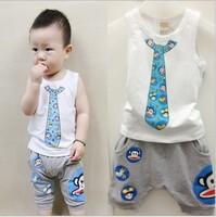 2014 baby boys suit kids 2 pc set cartoon tank t shirt + pants boy set 0423 sylvia 37443152014