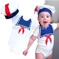 Fashion baby boys summer bodysuit short sleeve with hat baby boys sailor clothing 2pcs set
