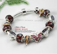 Free via ePacket Wholesale 925 Silver European Style Charm Glass Beads Bracelets For Women Fashion Jewellery PA1215