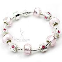 Alibaba Express Fashion European Style 925 Silver Charm Bracelet with Murano Glass Beads DIY Fashion Jewelry PA1315