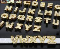 Wholesale 130pcs/lot  8mm golden color slide letters fit cell phone charm A-Z Crystal GOLD Rhinestone DIY Slide letters