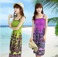2014 New Summer Womens Bohemia V Neck Long Maxi Sleeveless Party Cocktail Beach Dress big size