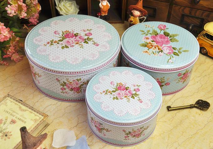 Free shipping flower design mint polka dot circle metal storage case big tin candy box biscuit cookie jar iron gift box 3pcs/set(China (Mainland))