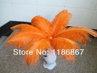 """Wholesale 50pcs/lot 12-14"""" 30-35cm orange ostrich feathers for wedding decor dyed ostrich feathers DIY feathers centerpieces"""