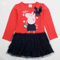 5Pcs/lot!Peppa pig children long-sleeved dress baby girls dresses child kids red girl clothes Fashion cartoon party dress H4549#