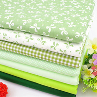 40cm*50cm 7pcs/lot Green Dot bowtie patchwork cotton fabric set quilting textile material for DIY crafts