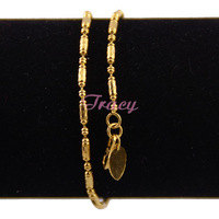 New  2mm Womens Girls 18k Yellow Gold Filled Anklets Link Heart Charm Jewelry