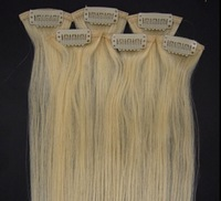 "5sets x 20"" Remy Clip in Human Hair 6pcs Silky straight  #613 light blonde  36g/set"