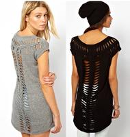 Women's Novety T shirt Back laser sculpture tails knitted cutout short-sleeve O-Neck T-shirt Women's clothing