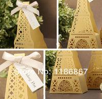 H04 Cut-out Gold Hollow Eiffel Tower Wedding Favor Box/Candy Box/Wedding Box 50pcs/lot