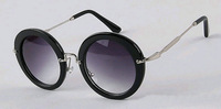 Free dropshipping High street Fashion 2014 Women's Classic Round Retro Sunglasses w/ Designer Bridge Metallic Frames sg206