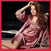 silk sexy women pajamas sleepwear new 2015 robe quality smooth embroidery nightgown pajama sets 2 pieces plus size Free shipping