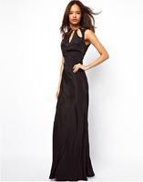 Women's Evening Dress Satin Black Long Elegant 6 sizes XS-XXL Party Long Dress Chiffon Dress