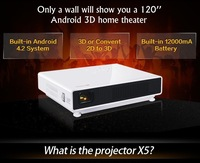 New Full HD 1080P Android 4.2 DLP 3D Projector TV Tuner with 12000mA battery for 3 hours Projection