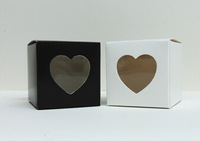 5*5*5cm  heart window candy box, heart box .chocolate box,sweet box(black/white)
