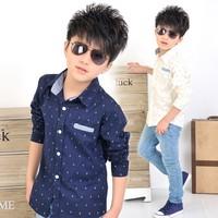 Children's Spring and Autumn 2014 the Navy temperament shirt new Korean children's clothing baby boy shirt Spring tide models
