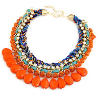 Hot Sale 2014 New Fashion Jewelry Multicolor Choker Water drop Cotton Rope Knitted Chunky Statement Necklace Women