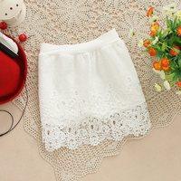 Fashion New 2014 Woman Vintage Elegant full Lace Skirt Slim Hook Flower Hollow Elastic High Waist Skirts short skirts