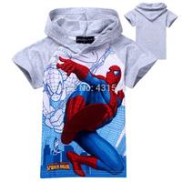 2014 New Children T Shirt Kids Cartoon T Shirt Baby Boy Spider man T Shirt Nova Kids Short Sleeve Hoodies