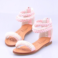 2014 female children sandals children shoes summer leather sandals girls shoes white ,pink