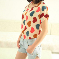 2014 New Fashion Print Summer T-shirts For Women Short Sleeve Brand And High Quality Chiffon O-Neck Women Tops And Tees