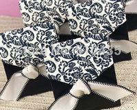 black damask candy box,chocolate box .gift box .sweet box with black ribbon