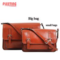 New 2014 Vintage Bag Women Messenger Bags Genuine Leather Shoulder Bags Women Leather Handbags Punk SOLID Women Handbag brown