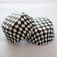 200pcs black white checkered paper cupcake liners cake decorations bakeware for wedding