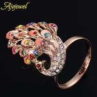 2014 New Arrival Elegant Beautiful Rose Gold Plated Multicolour Enamel Rhinestones Crystal Peacock Animal Rings For Women